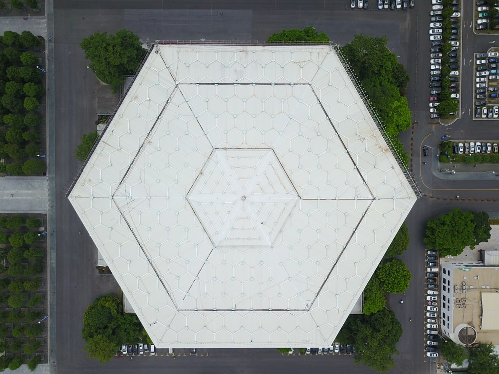 aerial photography of building top
