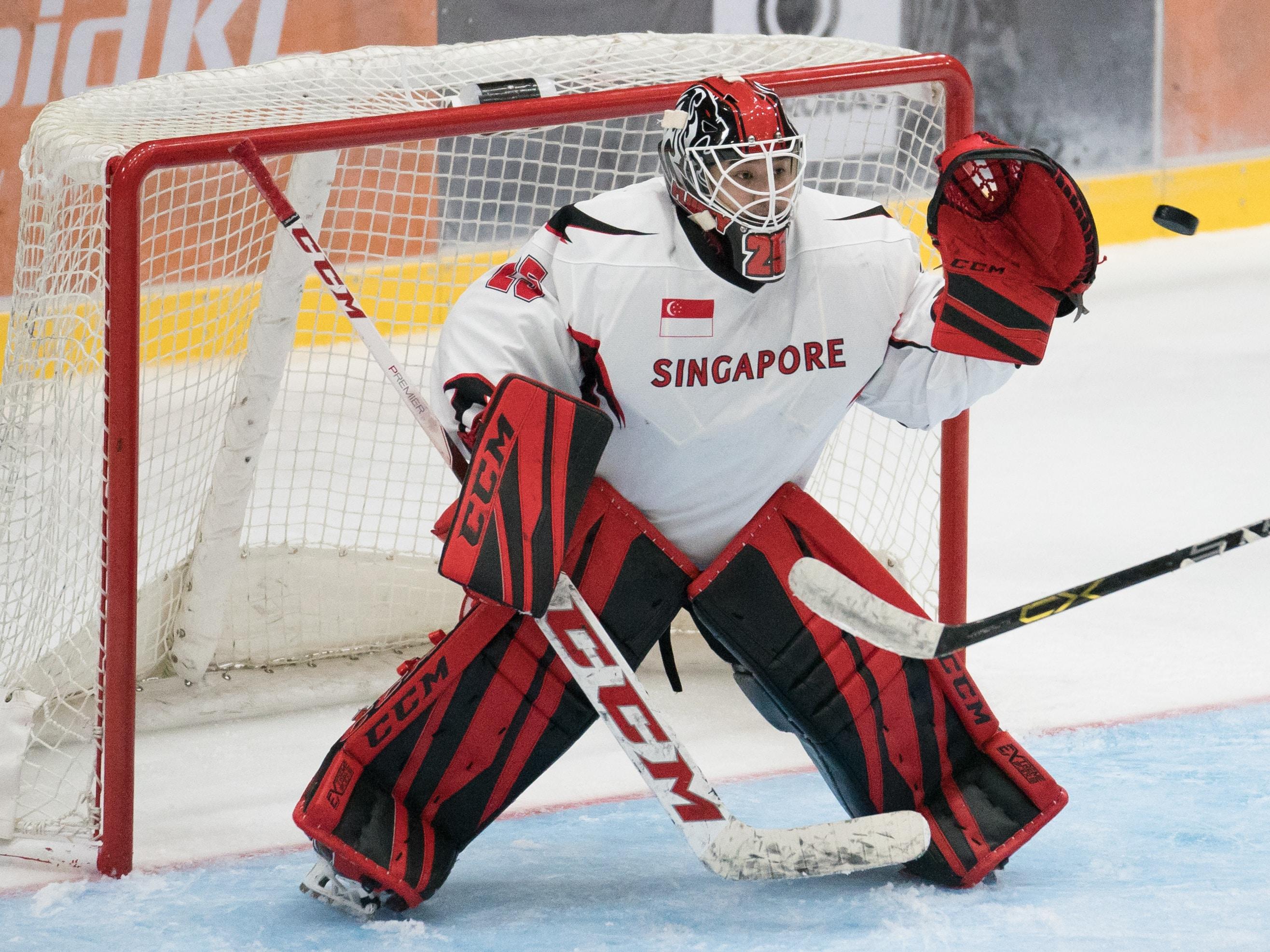 hockey goalie showing defense pose during game