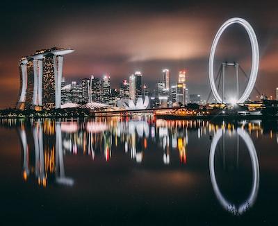 panoramic photo of london eye singapore zoom background