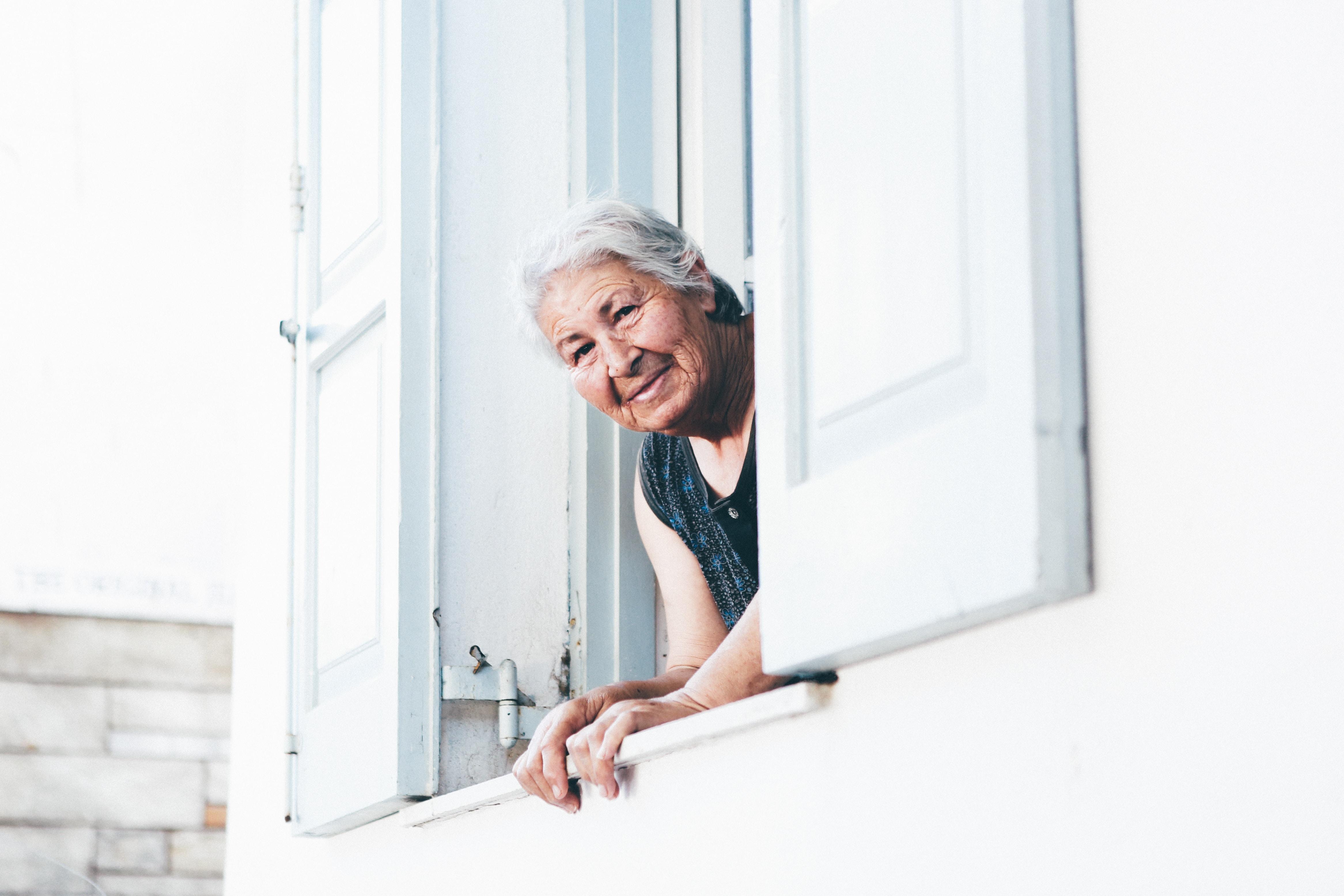 woman peeping at window