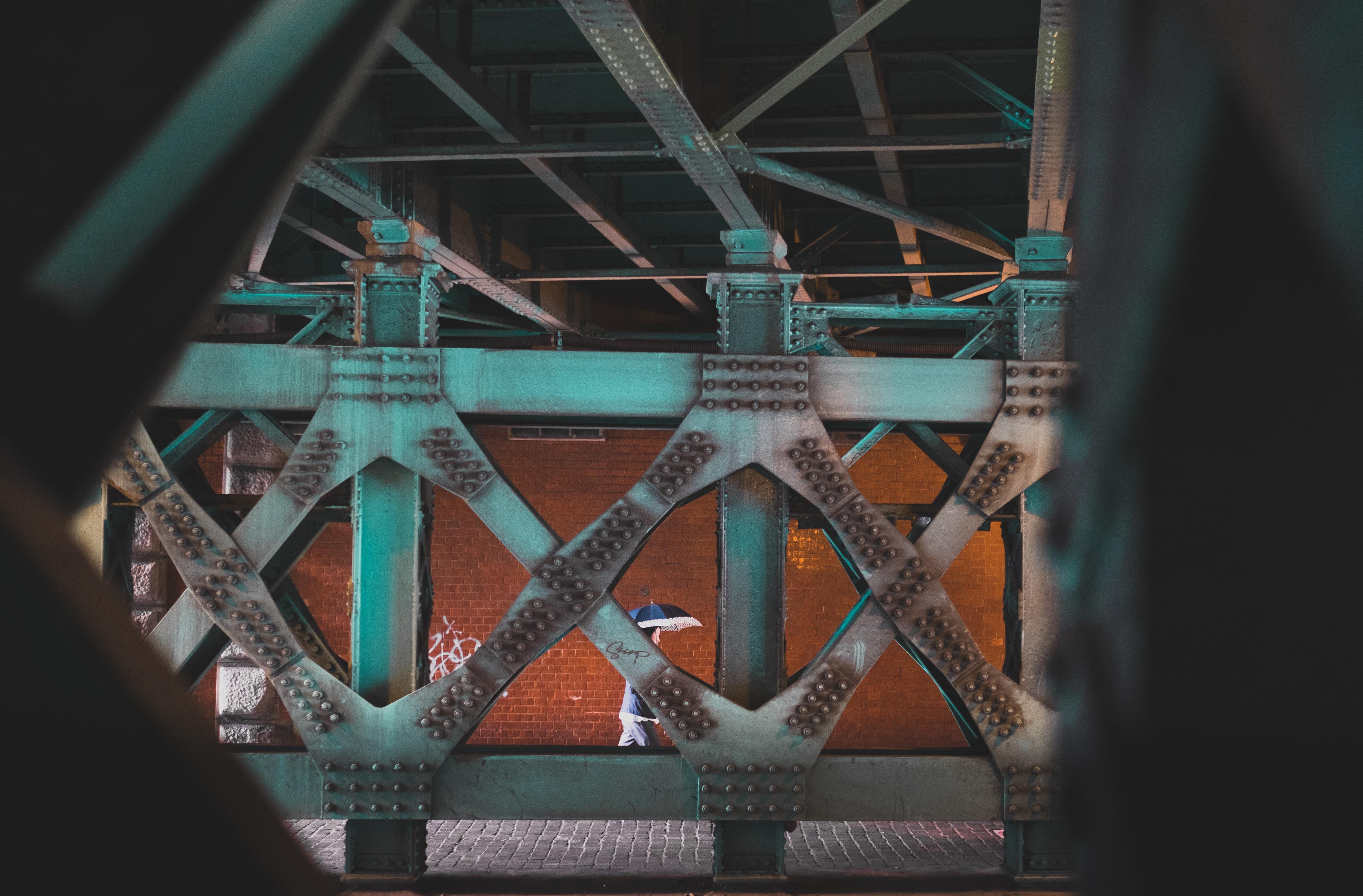 gray metal bridge frame