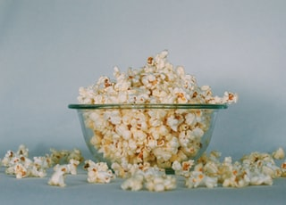 popcorns on clear glass bowl