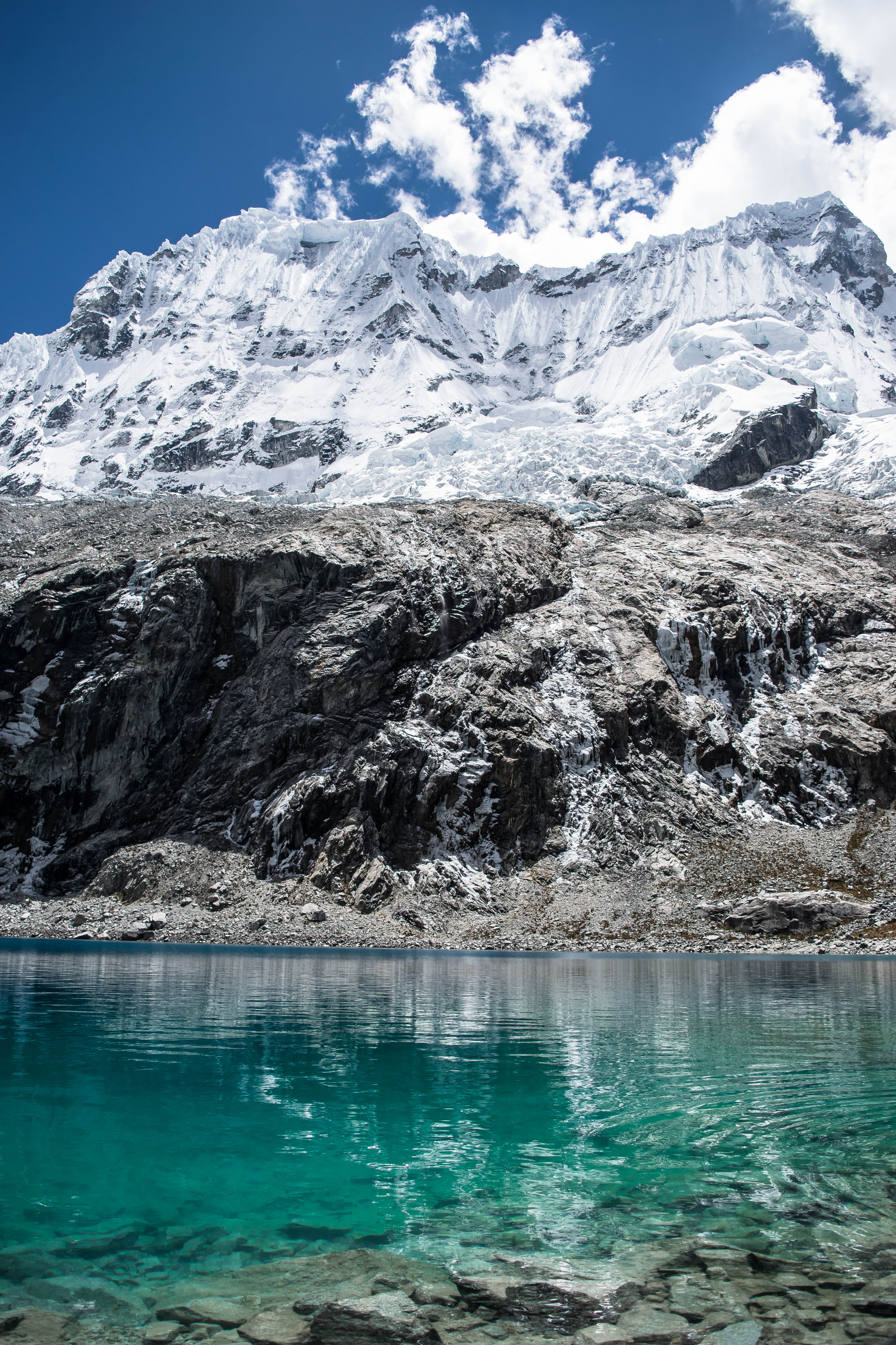 lake near mountain covered with snow