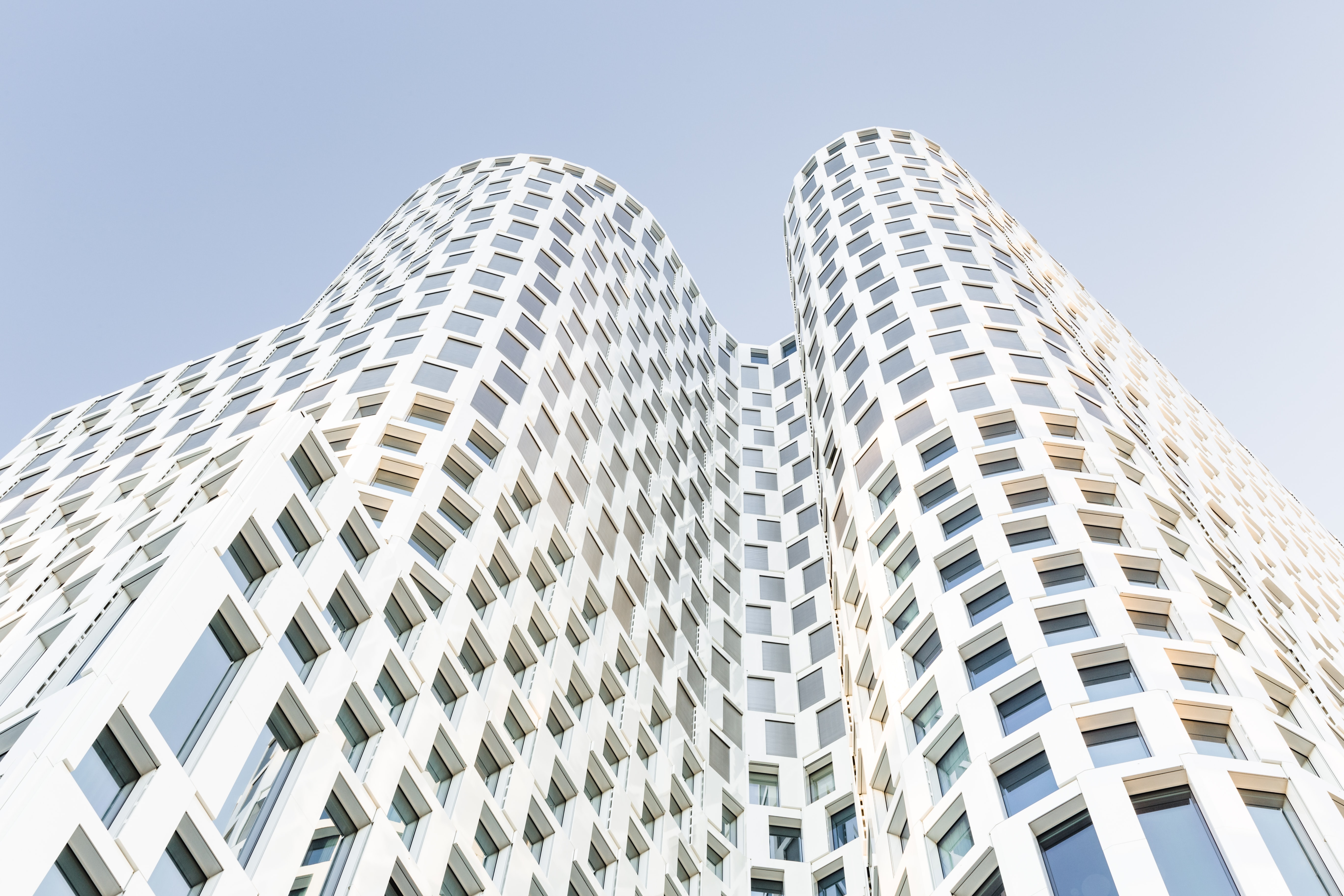 worm's-eye view of white building