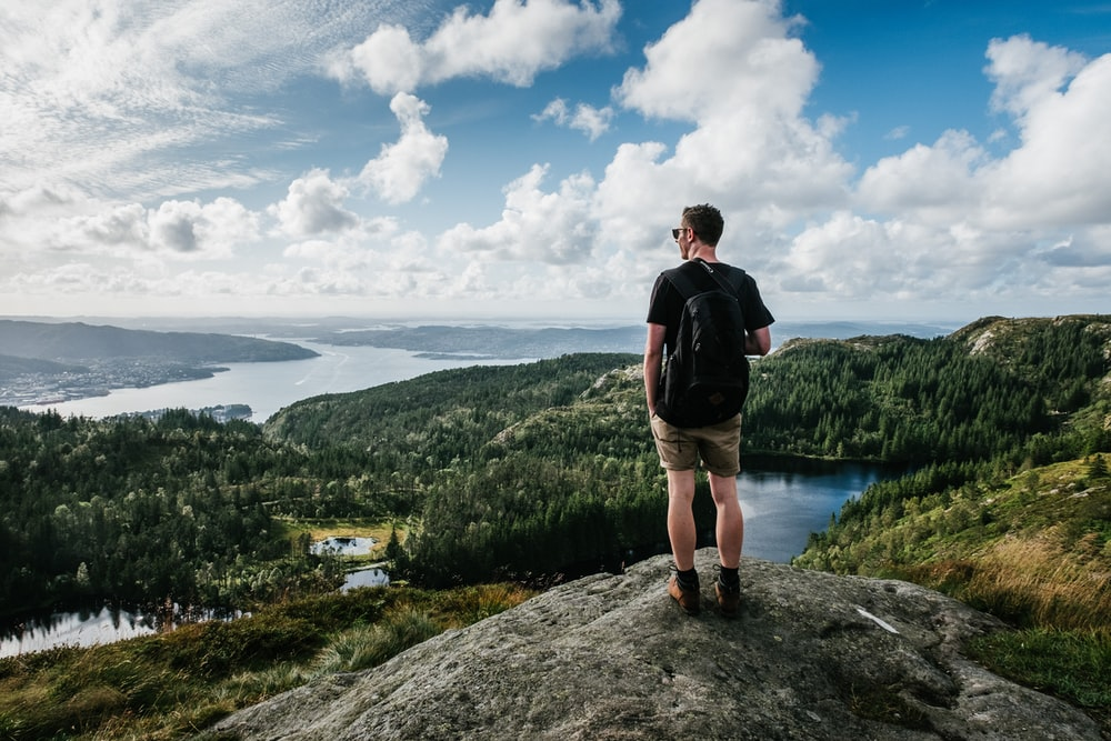 man standing on mountain beside trees