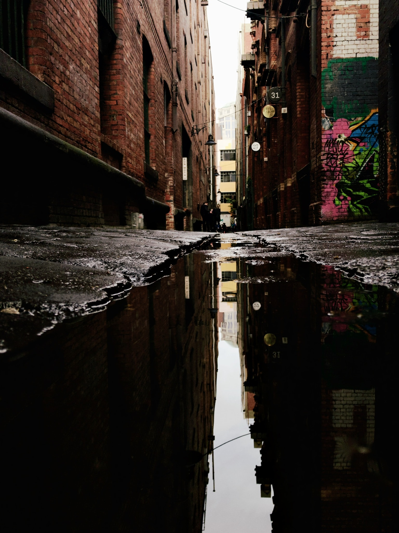 puddle on road