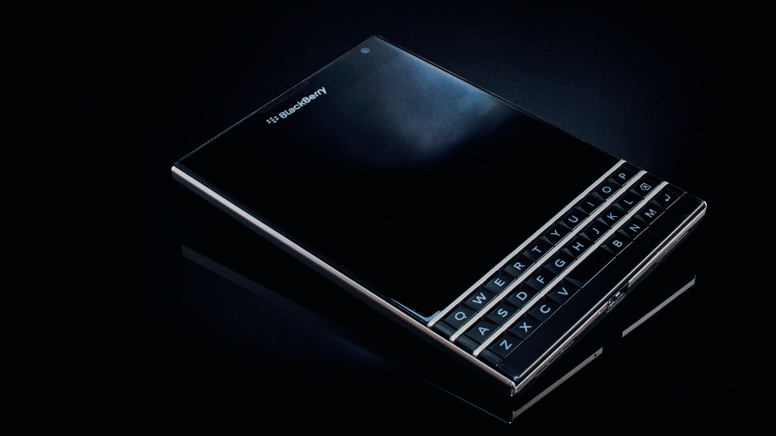 black BlackBerry Passport smartphone