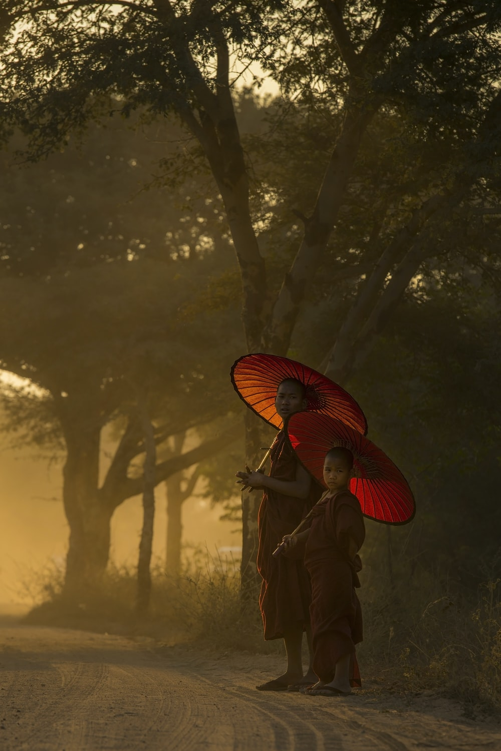 two monks under red wax umbrella surround by green leafed trees