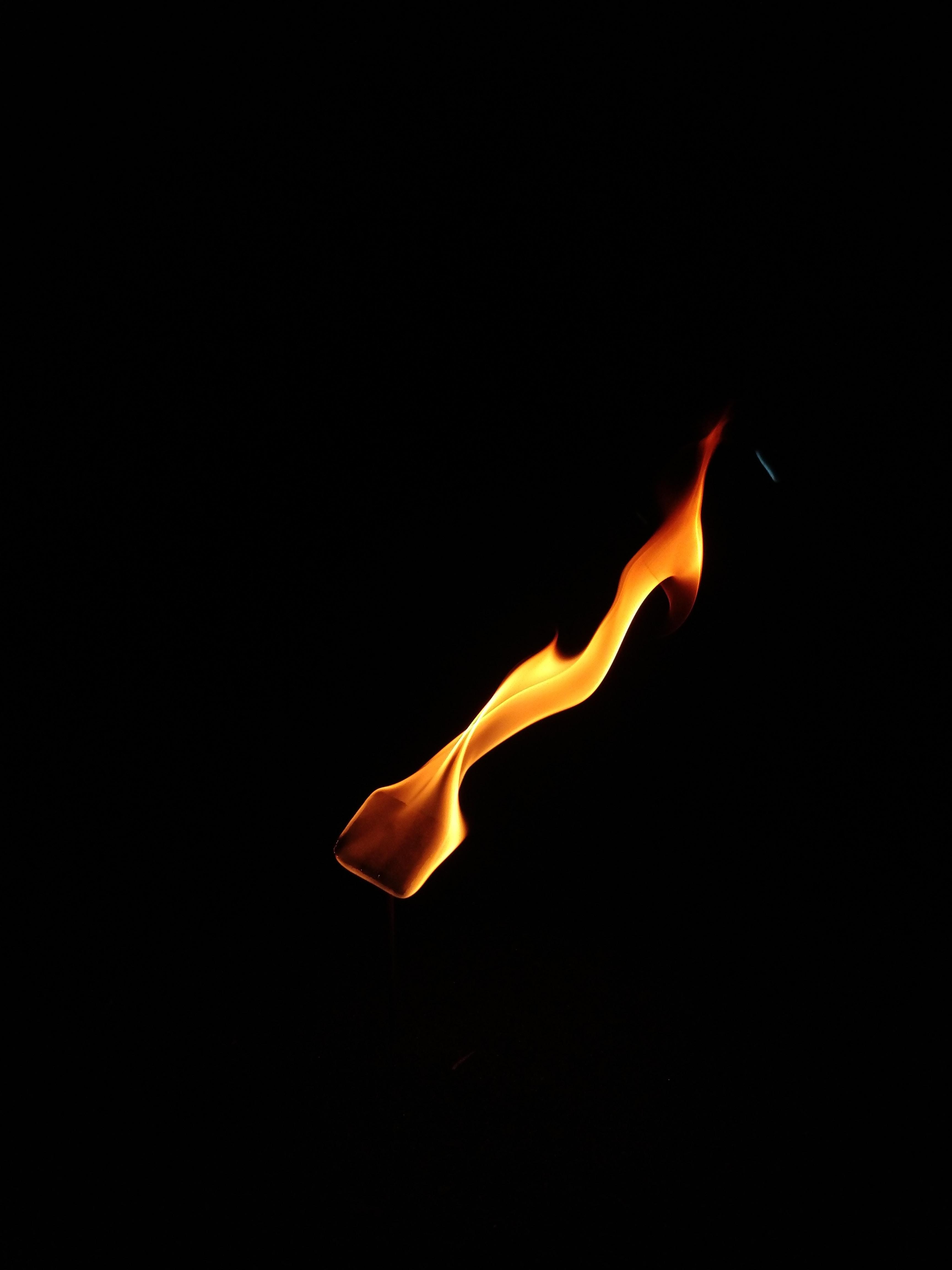 orange fire digital wallpaper