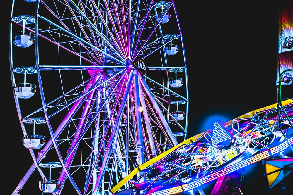 lighted multicolored ferris wheel
