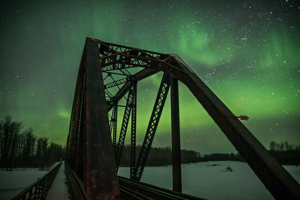 photo of bridge with Northern Lights