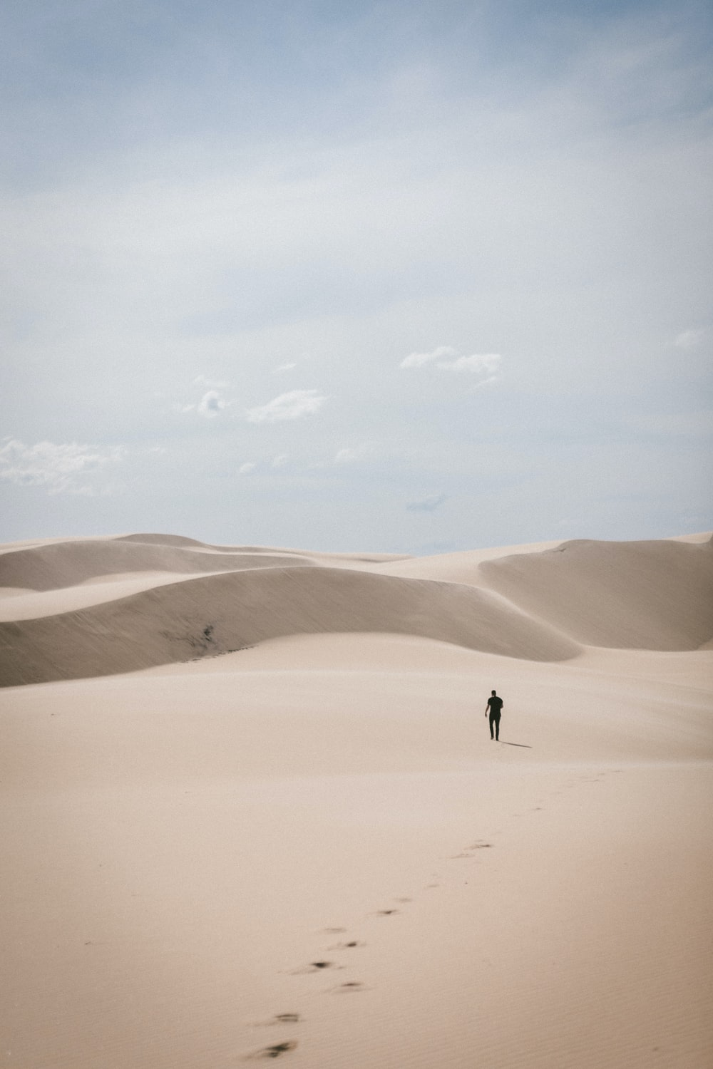 person waling on desert