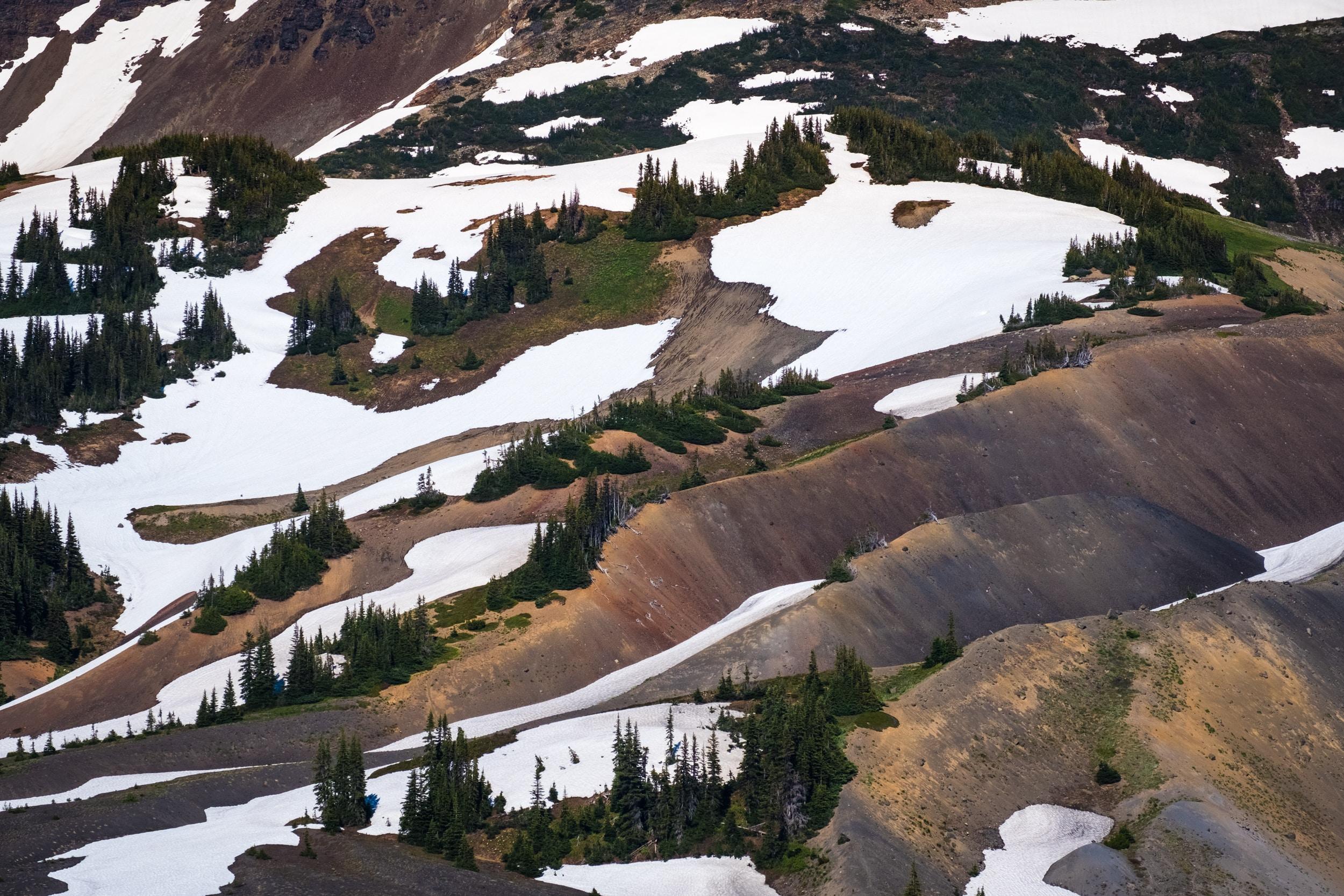 snow coated mountain range