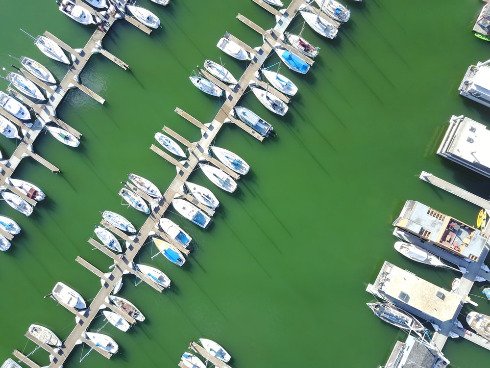 aerial photography of boats on dock