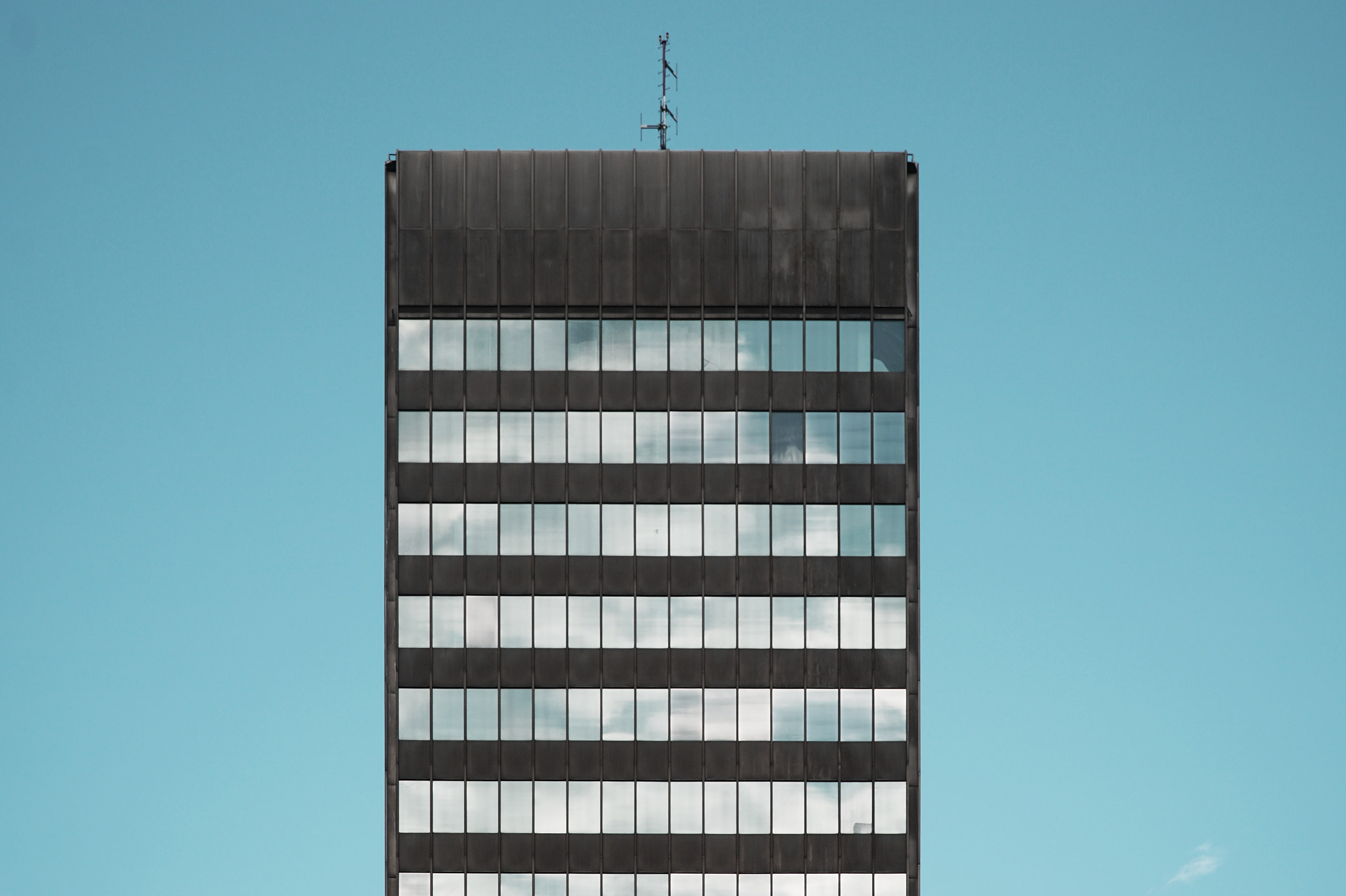 selective focus of clear and black building