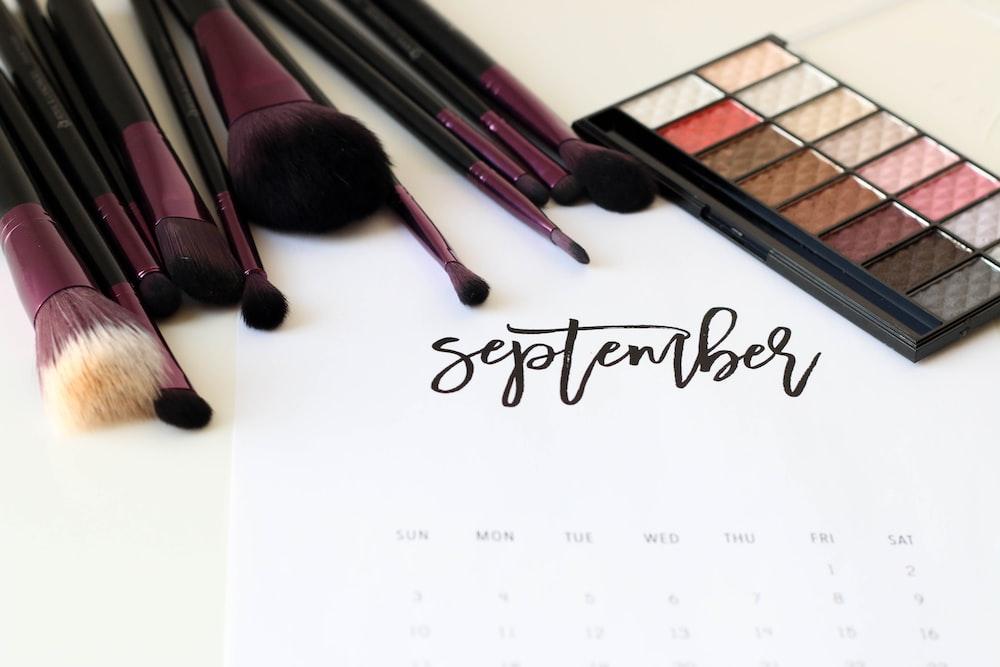 black-and-maroon makeup brush lot