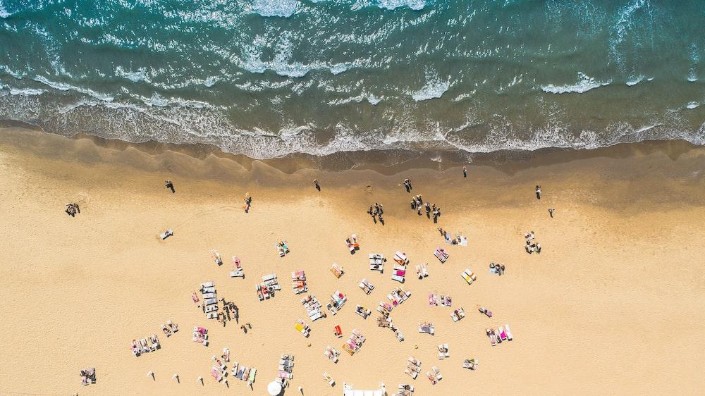 aerial view of seashore forming waves