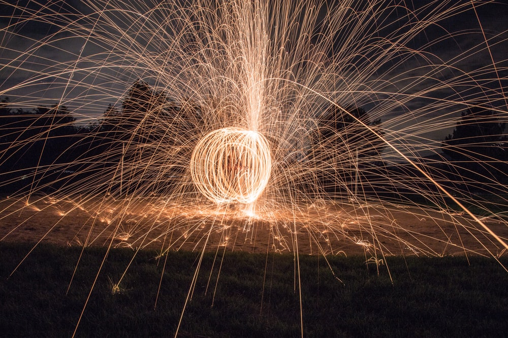 time lapse photography of firecrackers