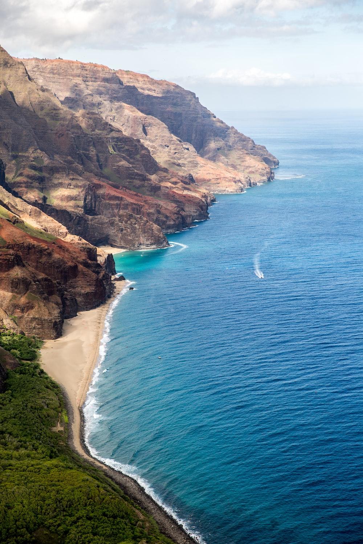 aerial photography of coastline