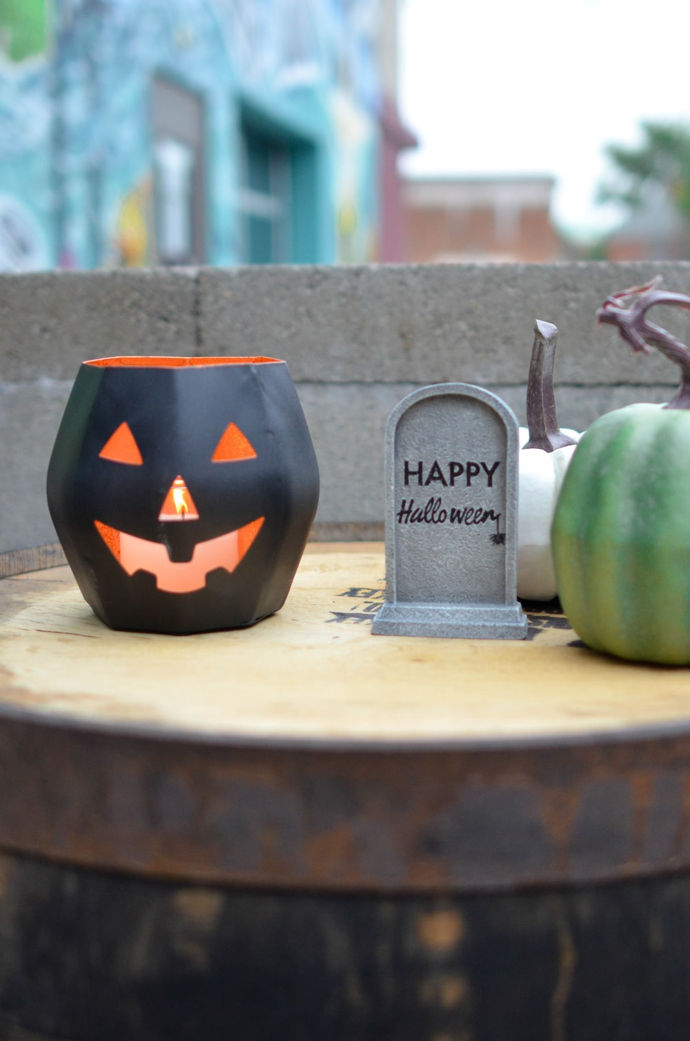 pumpkin and grave on tabletop