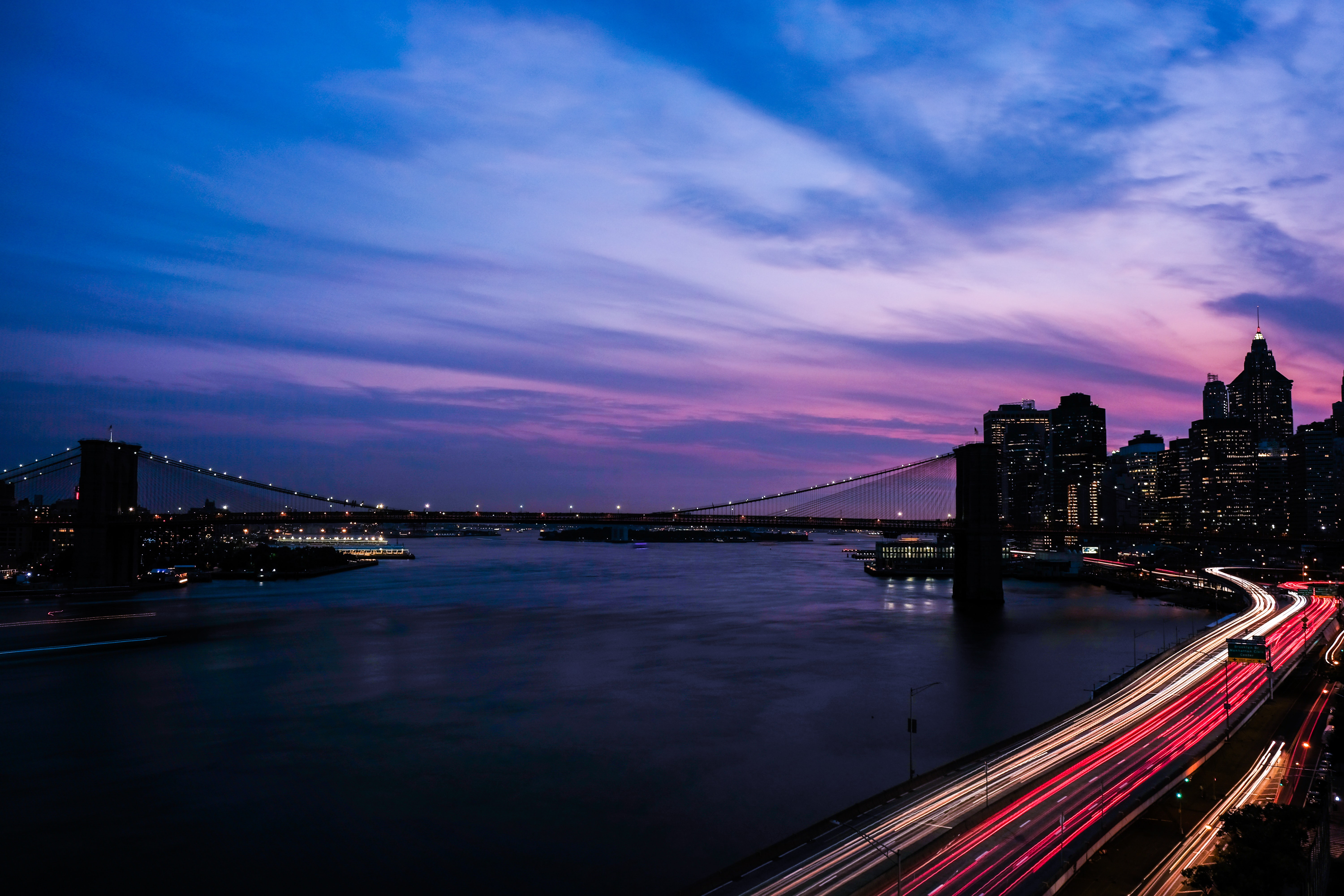 timelapse photography of road and bridge