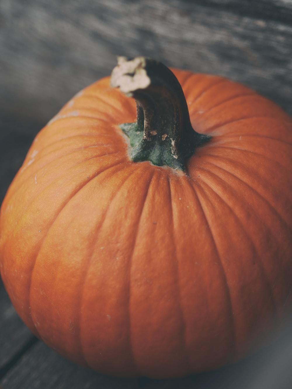 orange pumpkin on gray surface