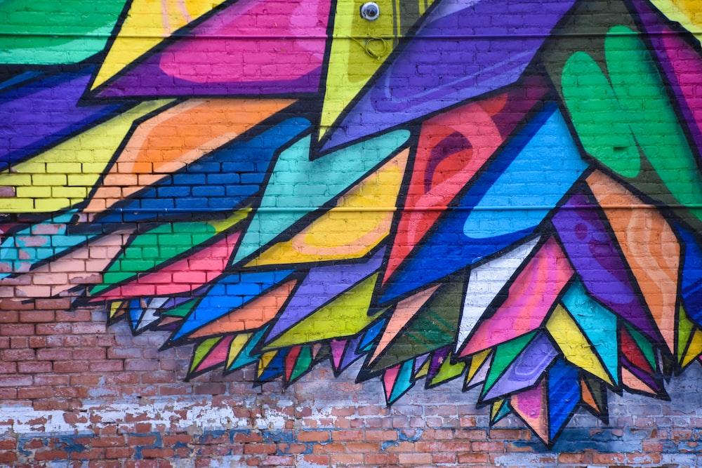 blue, green, and yellow grafitti