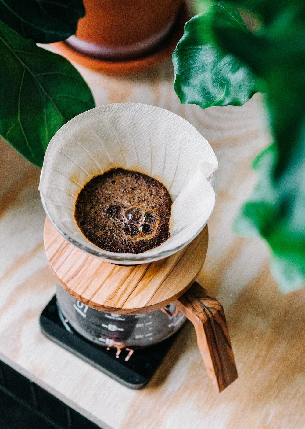 brown and black coffee pot closeup photo