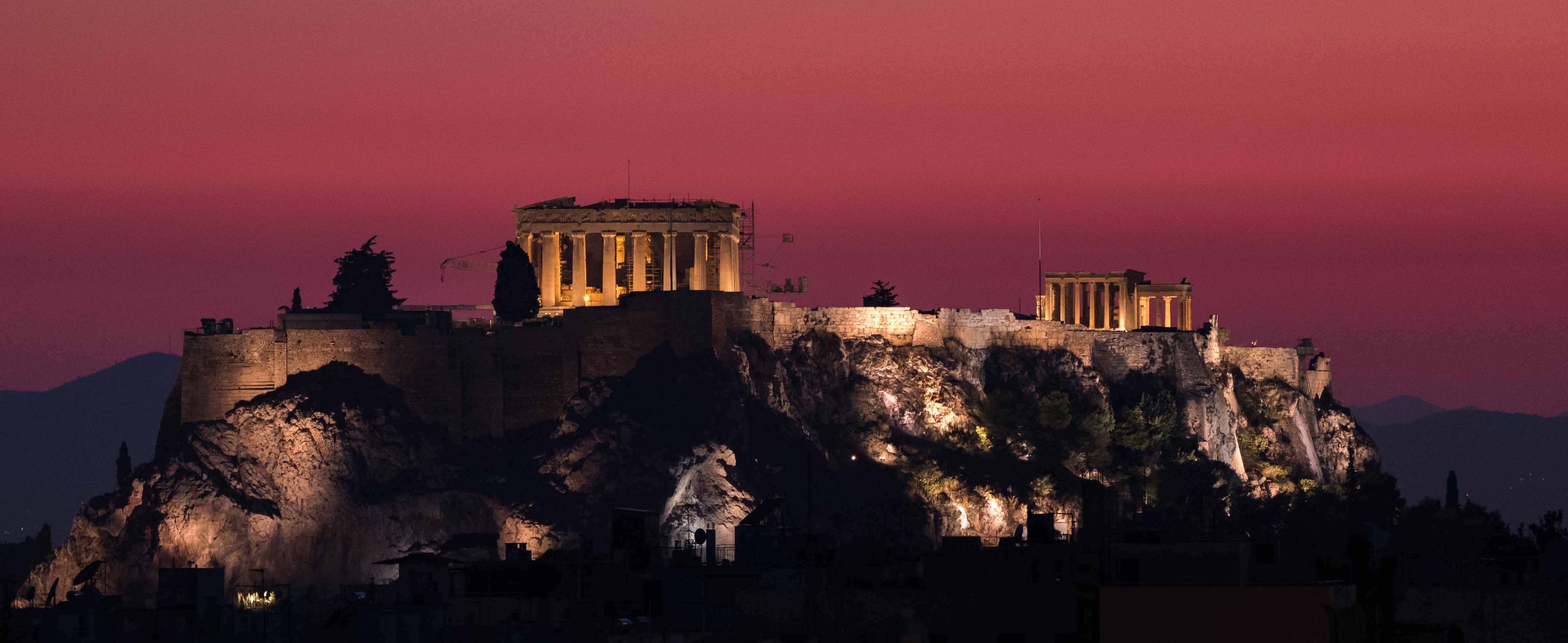 Parthenon, Greece during night