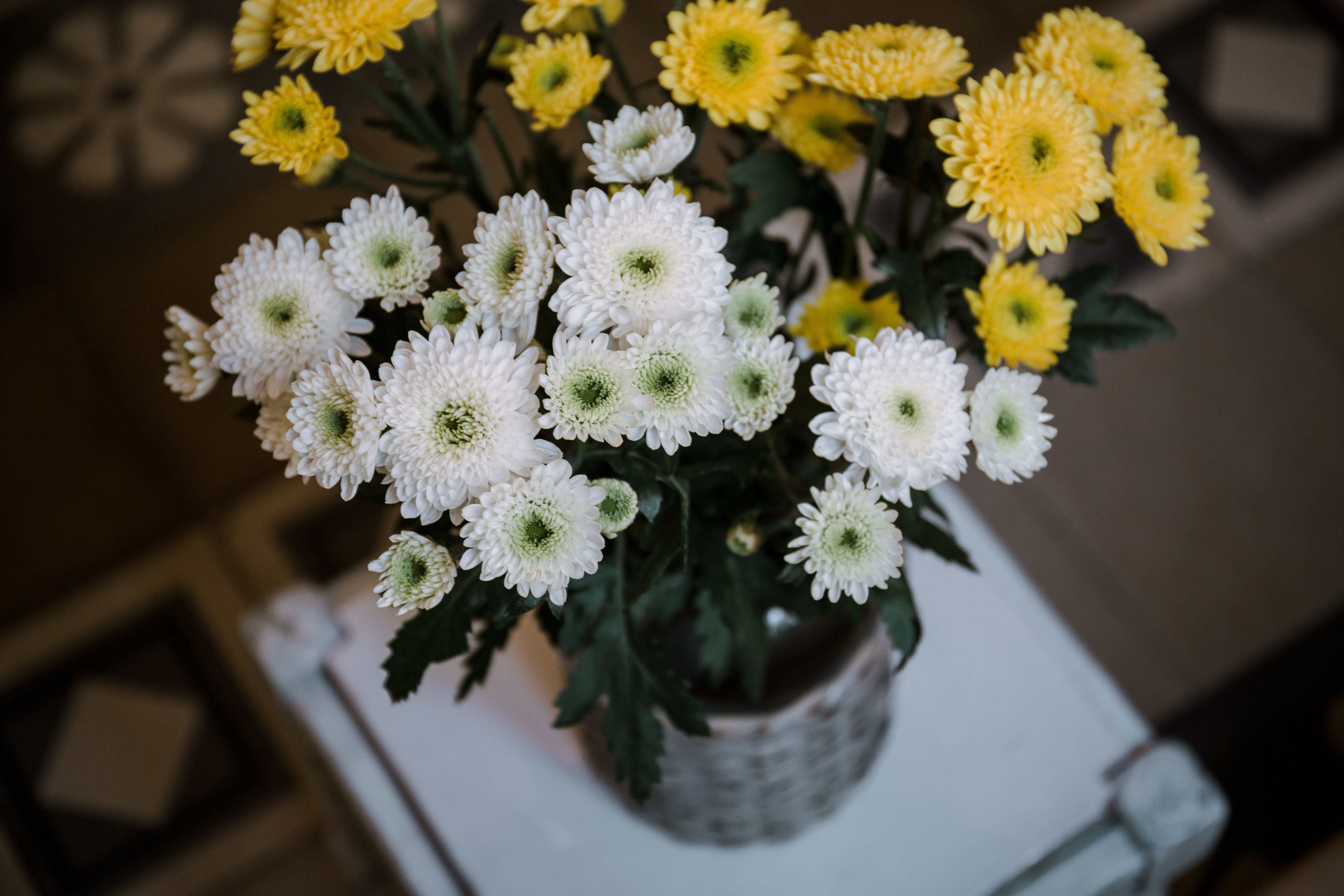 yellow and white petaled flower arrangements