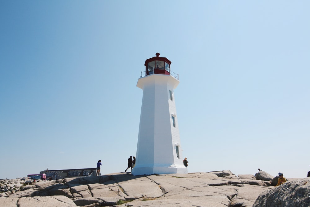 white and black lighthouse under blue sky