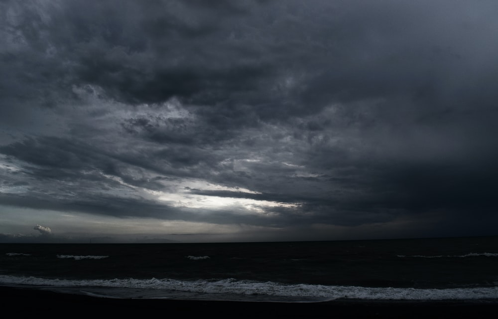 ocean under gray cloudy sky