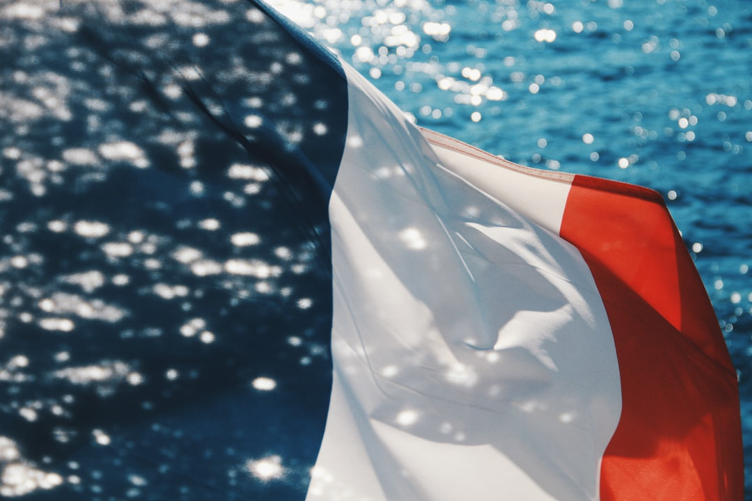 French flag in the bokeh
