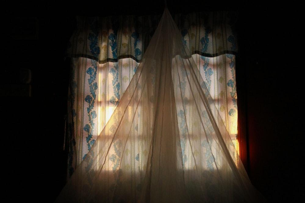 white curtain on window
