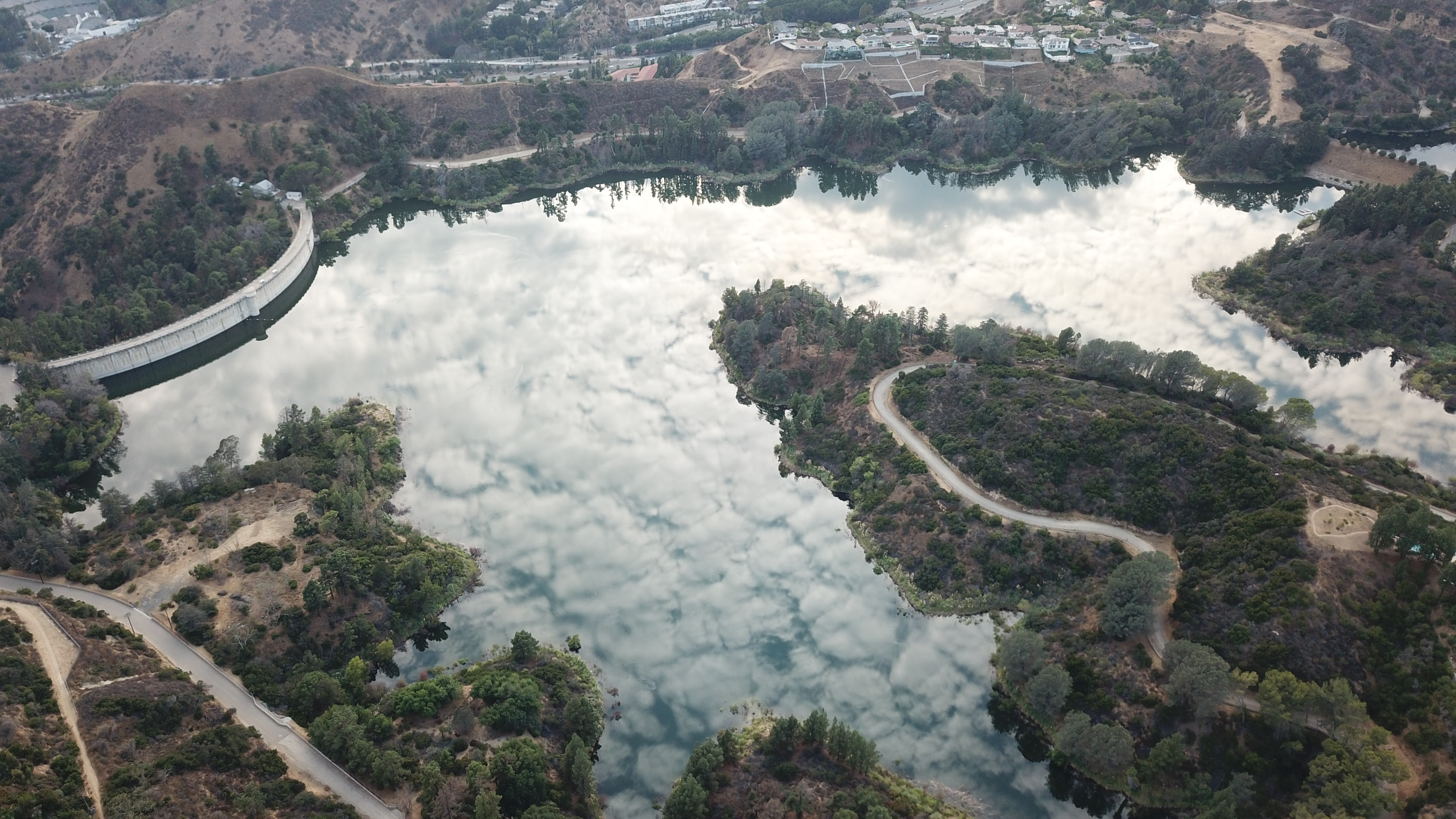 aerial photograph of land near lake