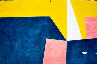 blue, yellow, and brown wall decor