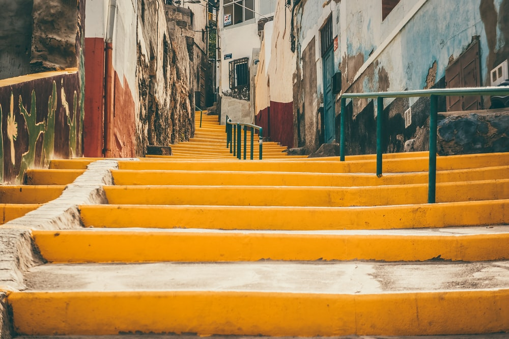 yellow painted staircase