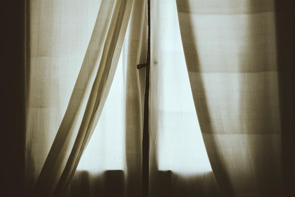 white mesh window curtain