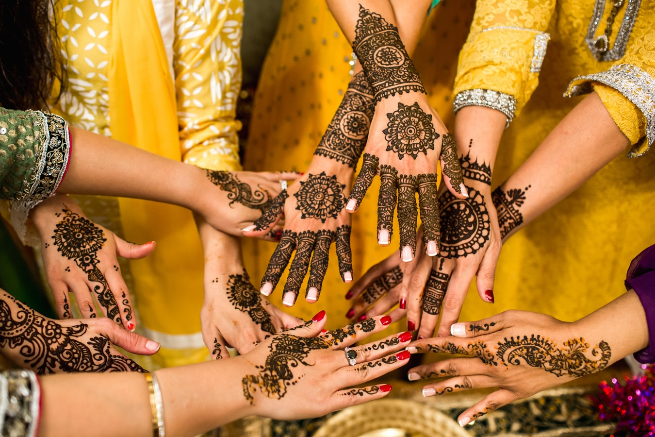 Hands with henna (mehendi) on them