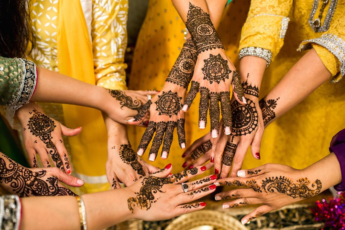 Hands with henna (mehendi) on them