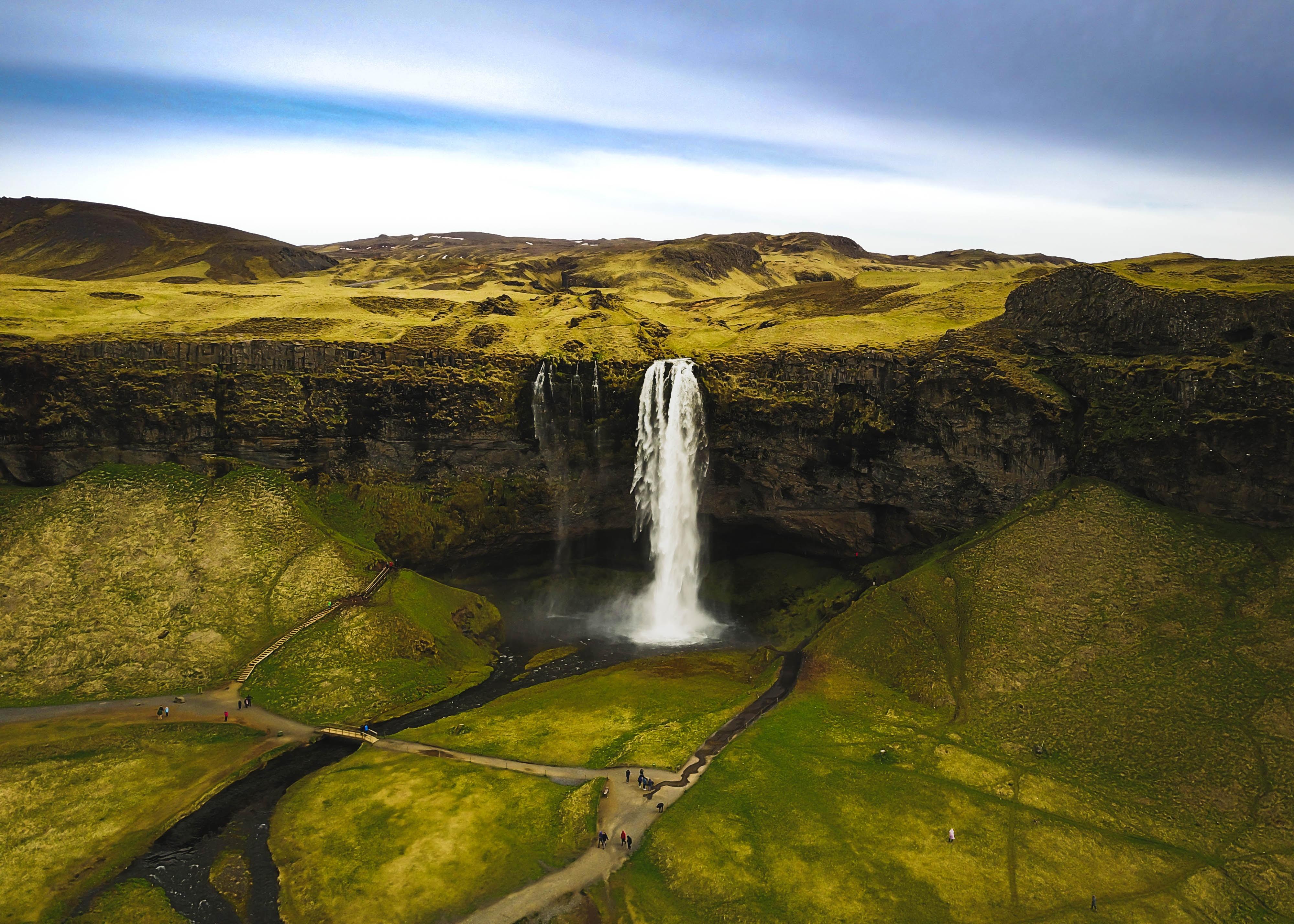 DJI Mavic photo of beautiful waterfall in Iceland, Seljalandsfoss. Iceland trip May 2017.