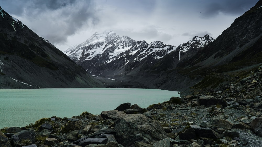 landscape photography of lake and mountains
