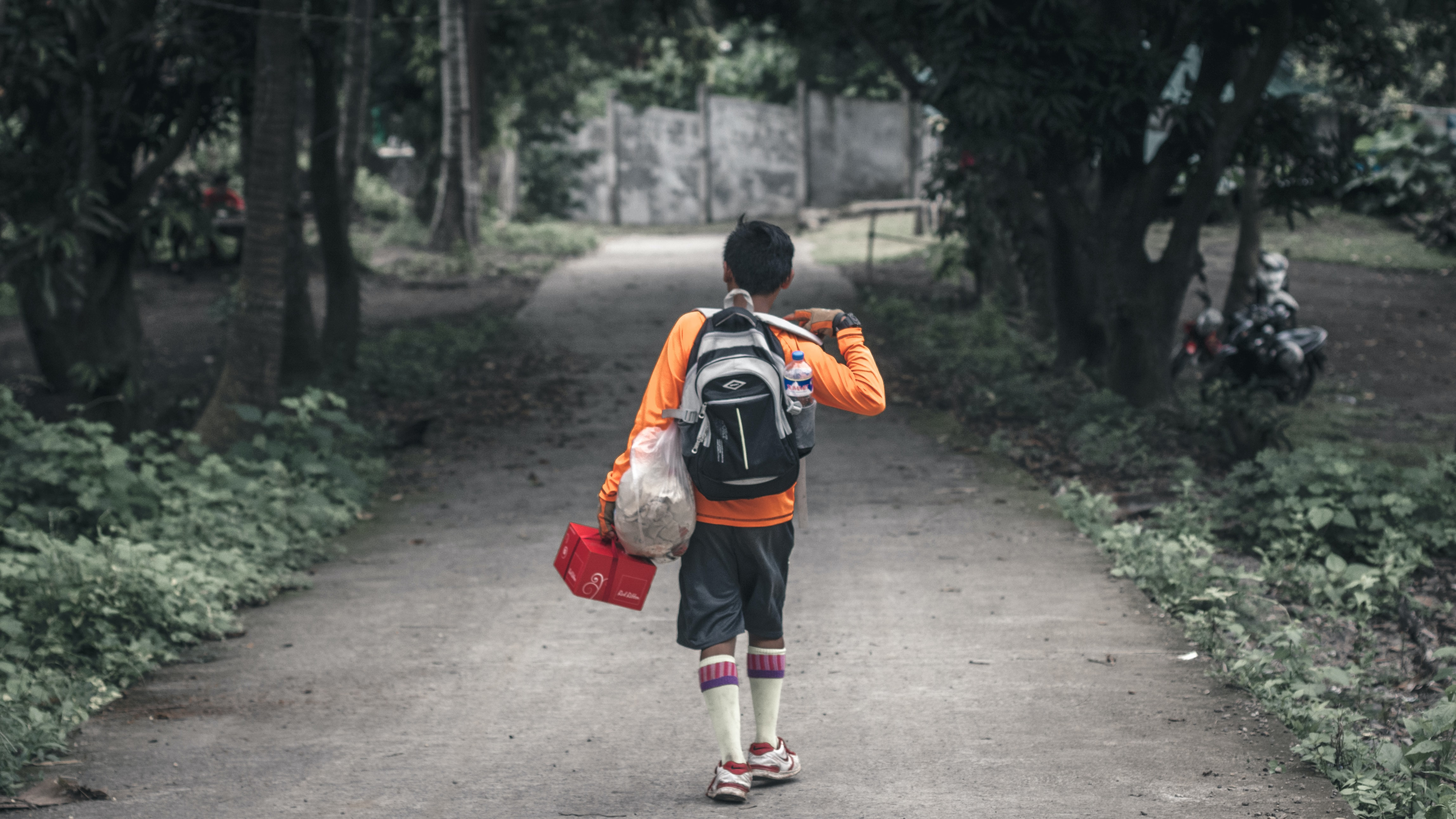 boy with backpack walking on pathway between trees
