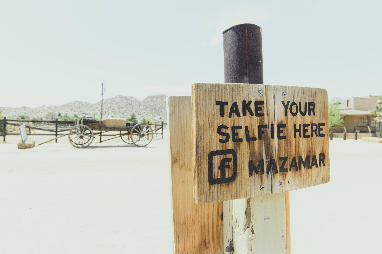 take your selfie here mazamar signage
