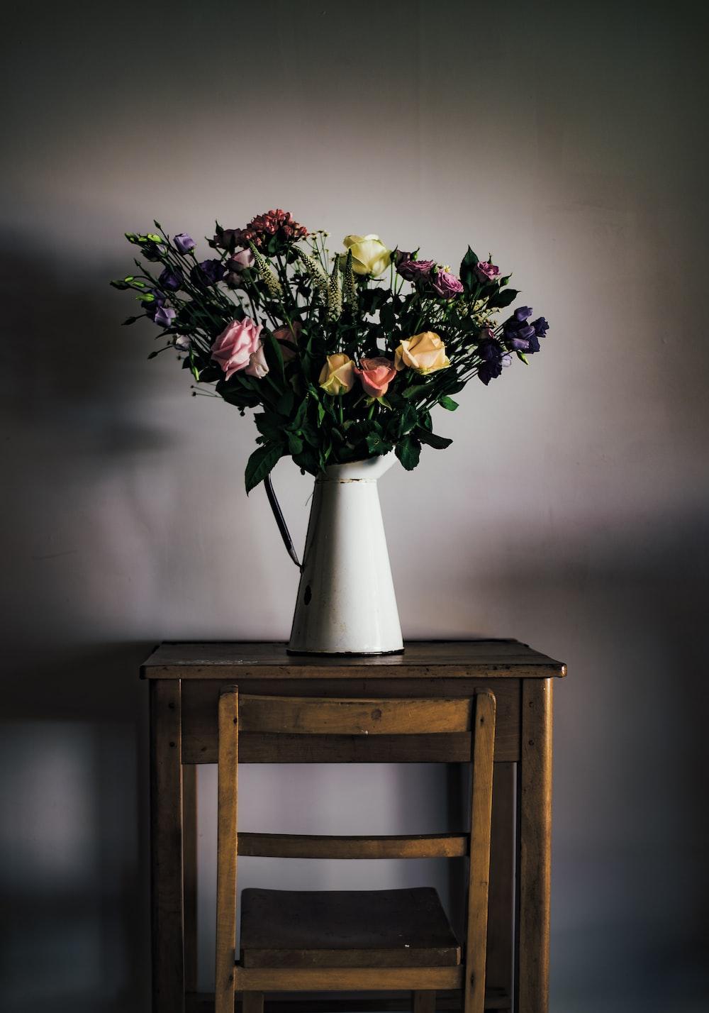 flower arrangement in white vase