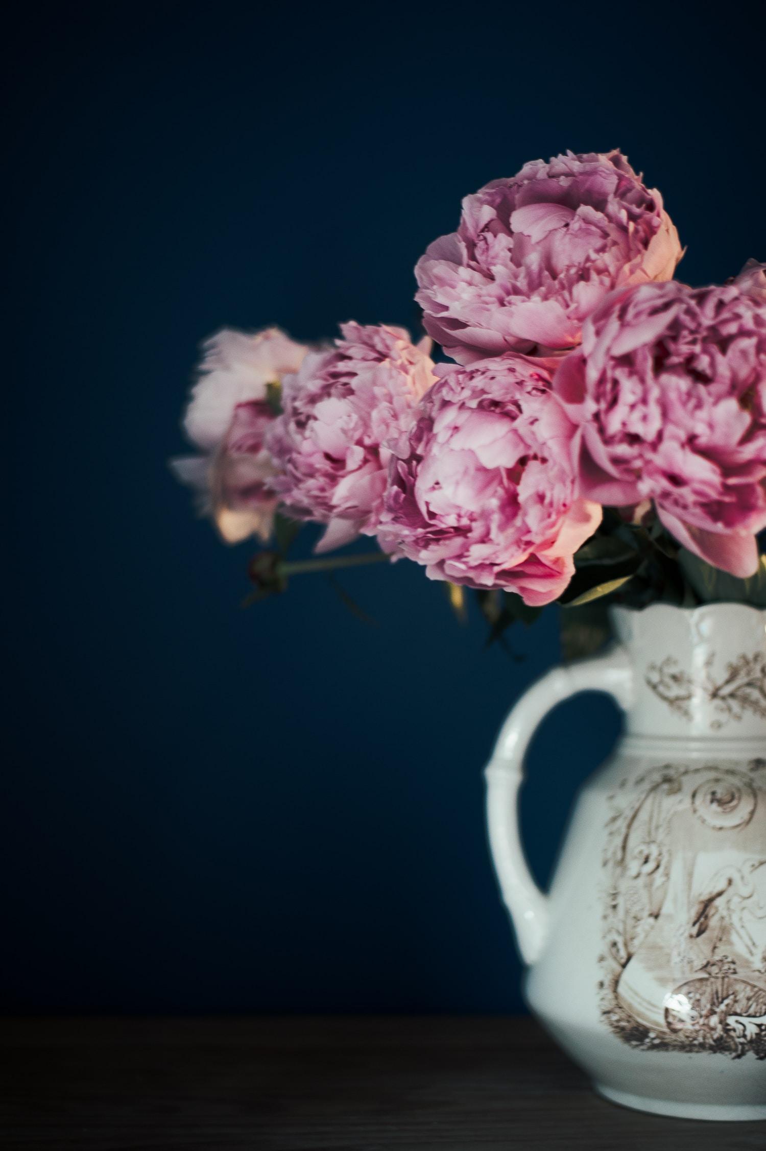 pink flower on white pitcher