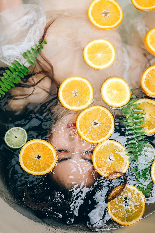 sliced lemon on bathtub