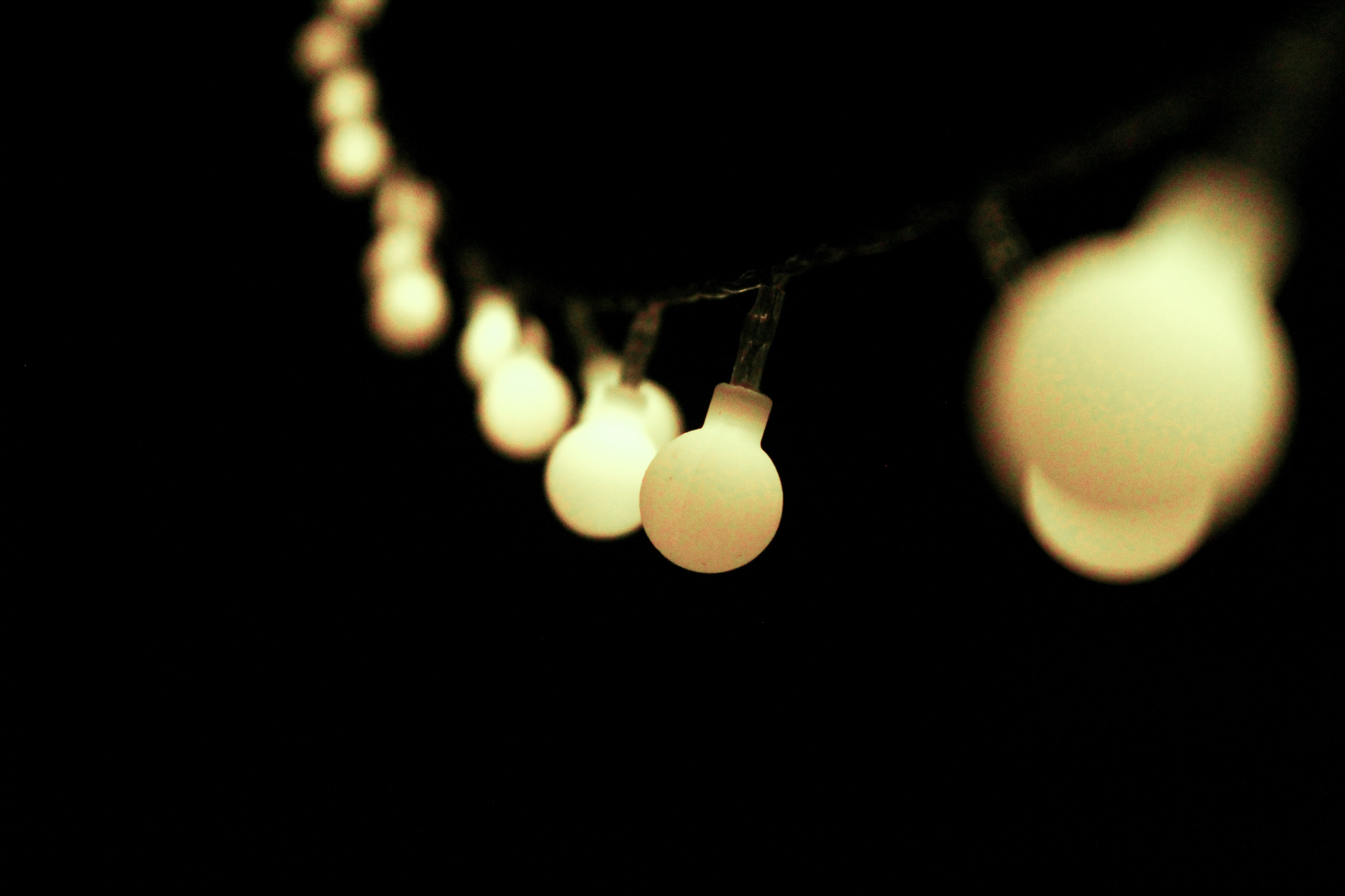 selective focus photography of yellow string lights