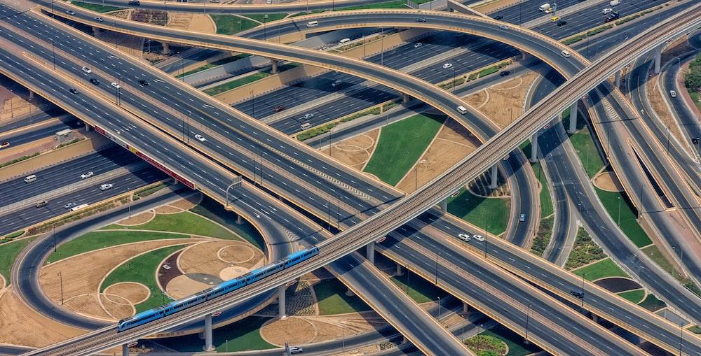 aerial view of asphalt roads and highways