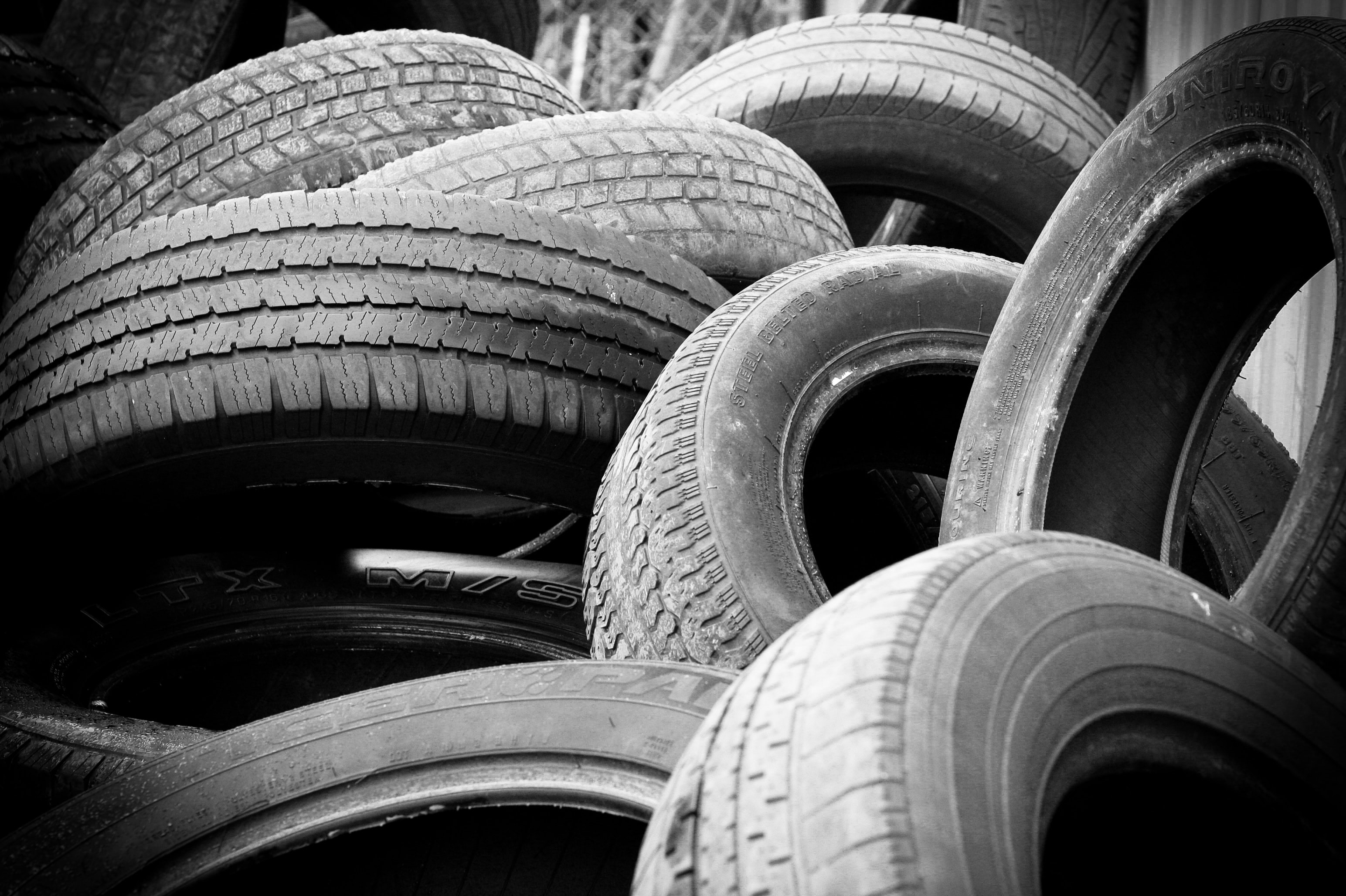 pile of vehicle tire lot